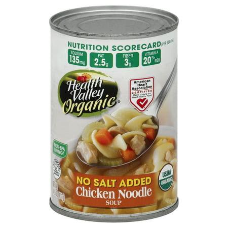 - Health Valley Organic Soup, Chicken Noodle, No Salt Added, 14.5 Fl Oz