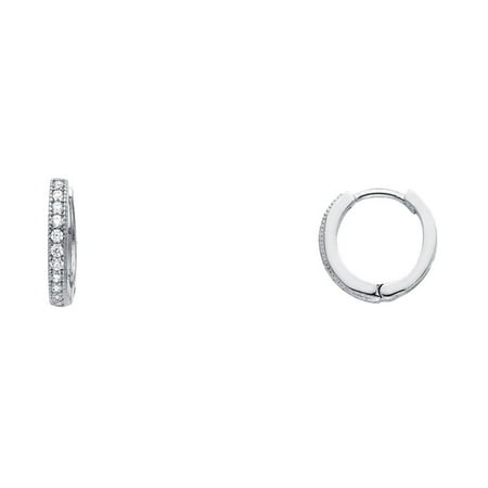 Solid 14k White Gold Huggie Hoop Earrings CZ Small Huggies Round Pave Set Stylish Fancy Tiny 10 mm