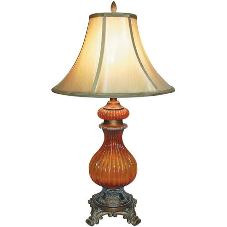 Ok Lighting Gold Amber Table Lamp