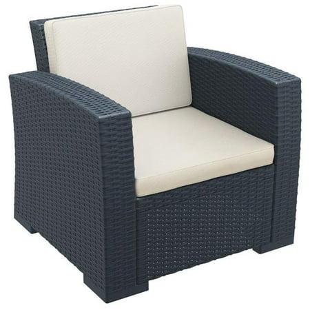 Siesta ISP831-DG Monaco Resin Patio Club Chair with Cushion, Dark Gray