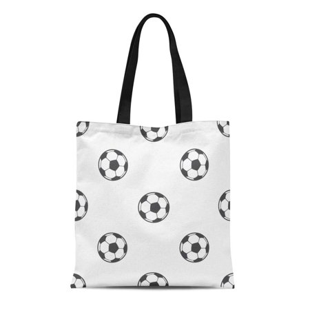 NUDECOR Canvas Tote Bag Futbol Ball Pattern Fills Soccer Cartoon Abstract Activity Black Reusable Shoulder Grocery Shopping Bags Handbag - image 1 of 1