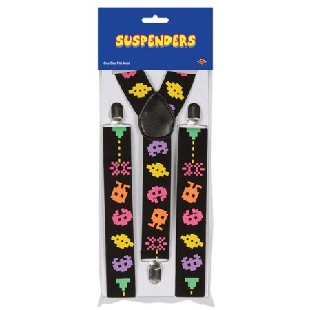 Club Pack of 12 Multi-Colored 80's Pixelated Character Adjustable Suspender Costume Accessories (Character Costumes For Sale)