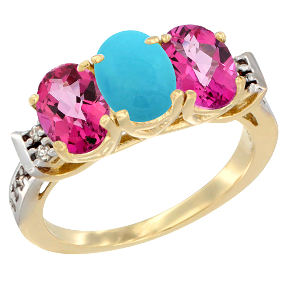 14K Yellow Gold Natural Turquoise & Pink Topaz Sides Ring 3-Stone Oval 7x5 mm Diamond Accent, sizes 5 10 by WorldJewels