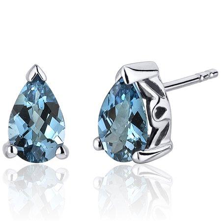 Peora 1.50 Ct Pear Shape London Blue Topaz Sterling Silver Stud Earrings Rhodium Finish