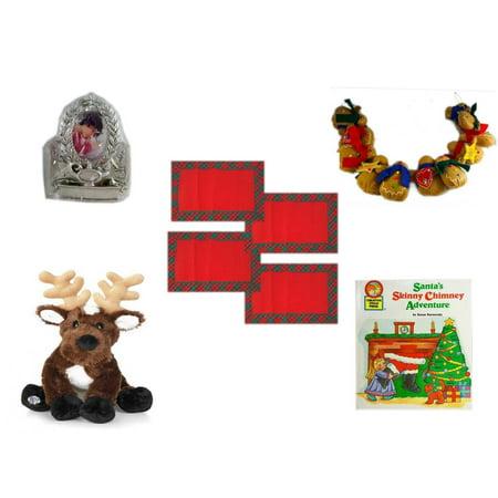 Christmas Fun Gift Bundle [5 Piece] - Hallmark Academics Photo Frame Ornament QXG4795 - String of Gingerbread  w/ Wood Stars & Hearts 4.5' Feet  -  Red Plaid Cloth Placemats Set of 4 - Webkinz (Gingerbread Man Photo Frame Ornaments)