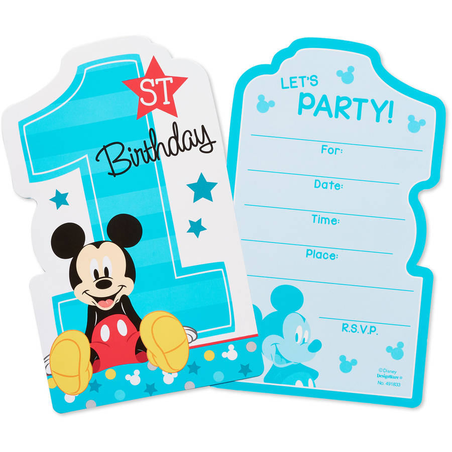 Mickey Mouse 1st Birthday Party Invite Postcards, 8ct