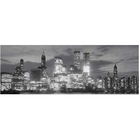 New York City at Night Skyline Bright Lights 36x12 Photograph Art Print Poster Manhattan Black and White