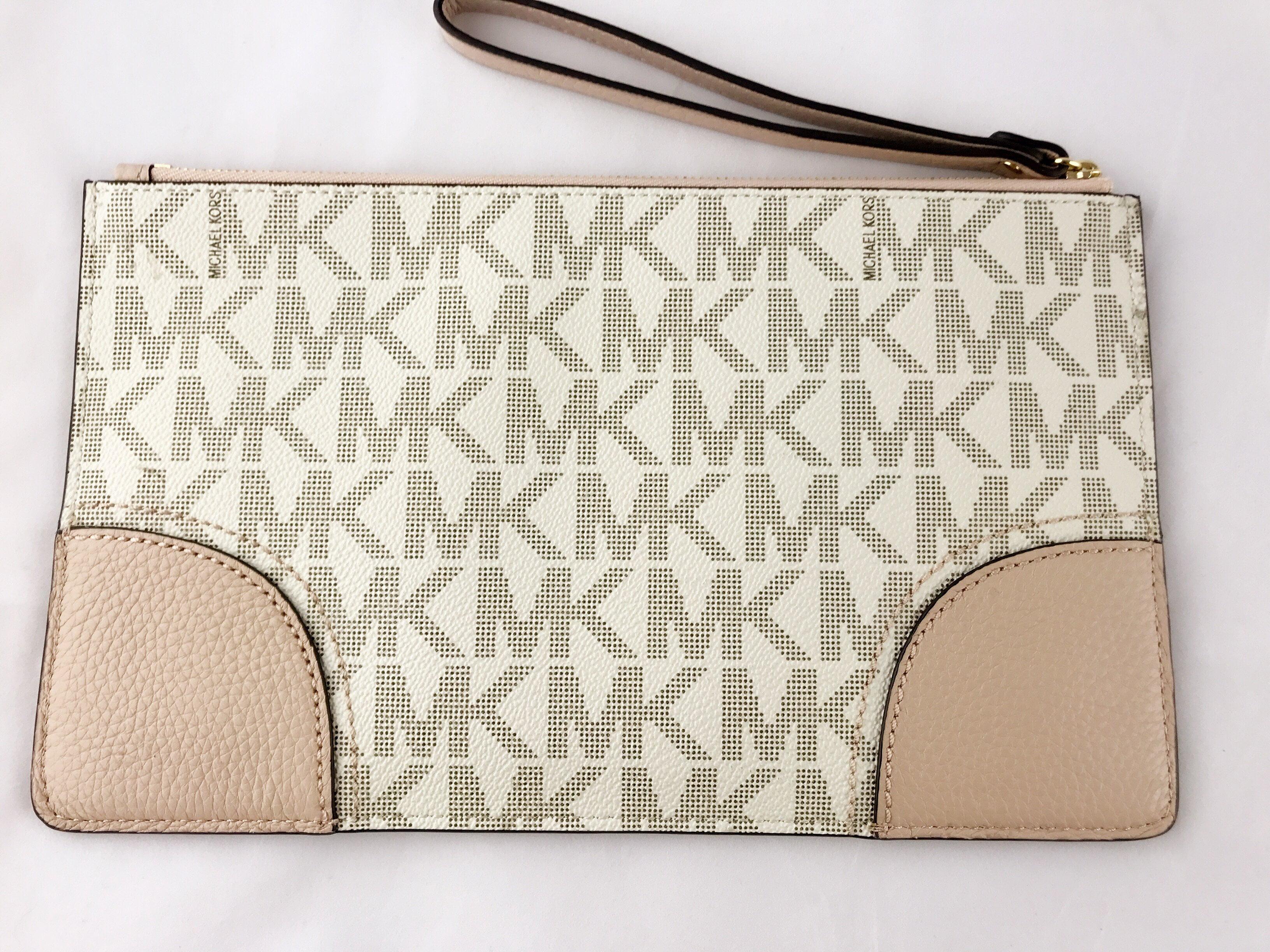 988be3d7688e Michael Kors - Michael Kors Hattie Vanilla Ballet Pink PVC Signature Zip  Clutch Wristlet Wallet - Walmart.com