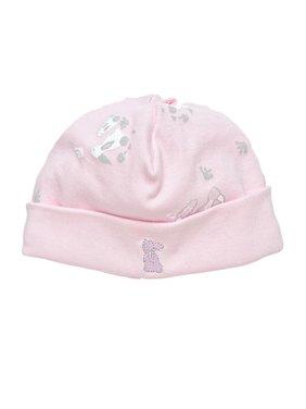 Organic Cotton Baby Girl Beanie Size 0-3m Pink Bunny Print