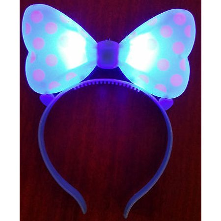 LWS LA Wholesale Store  1 LIGHT UP MINNIE MICKEY MOUSE BOWS POLKA DOTS HEADBANDS FAVOR PARTY EARS (Blue) & Free miniature figure](Minnie Mouse Ears Party City)