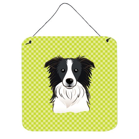 Checkerboard Lime Green Border Collie Wall or Door Hanging Prints BB1303DS66