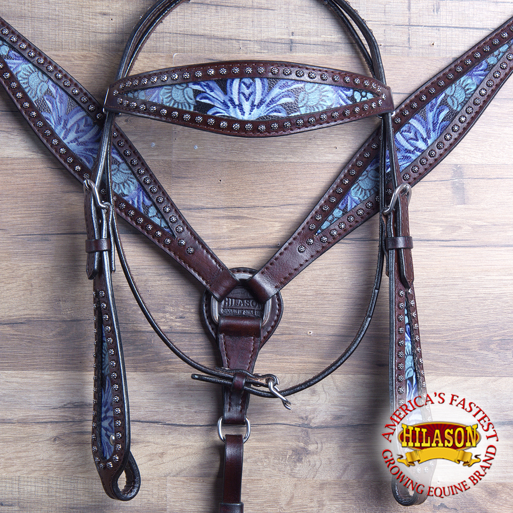 HILASON WESTERN LEATHER HORSE HEADSTALL BREAST COLLAR BLACK FLORAL TURQUOISE