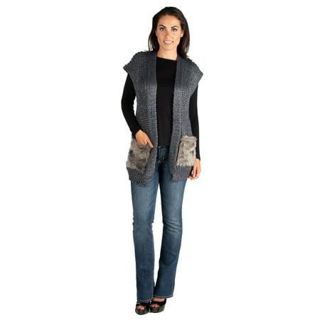 Fur Sweater Vest (Women's Faux Fur Embellished Pocket Sweater Vest )