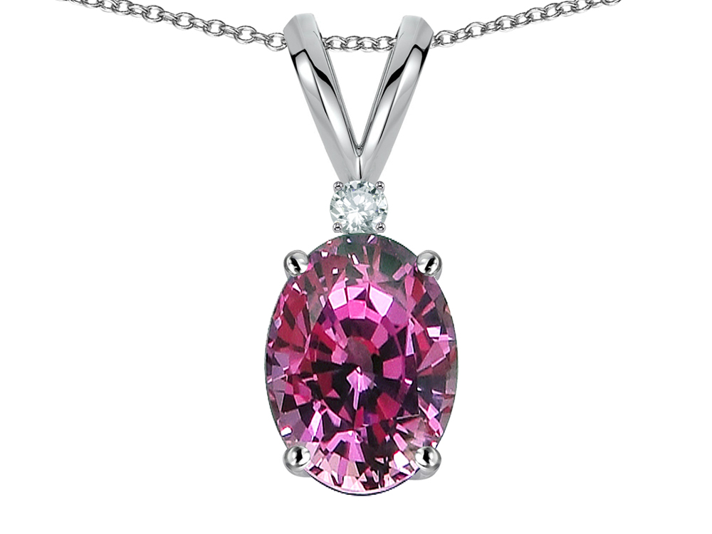 Star K Oval 7x5mm Genuine Pink Tourmaline Pendant Necklace in 10 kt White Gold by