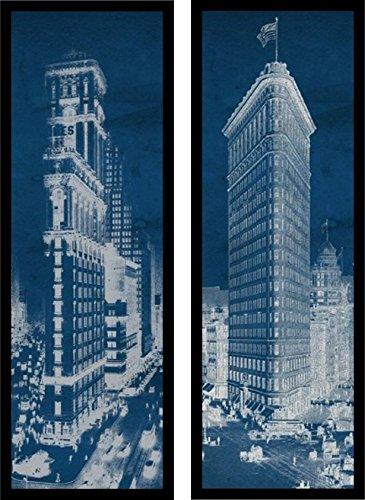 Times Square Postcard Blueprint Panel 36x12 Art Print Poster New York City