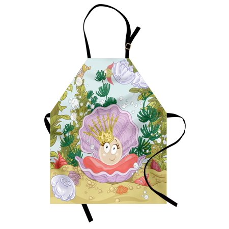 Pearls Apron Cute Princess Pearl in Clam with Crown Tiara Reef Cartoon Print Baby Girl Nursery Print, Unisex Kitchen Bib Apron with Adjustable Neck for Cooking Baking Gardening, Multi, by - Baby Tiara