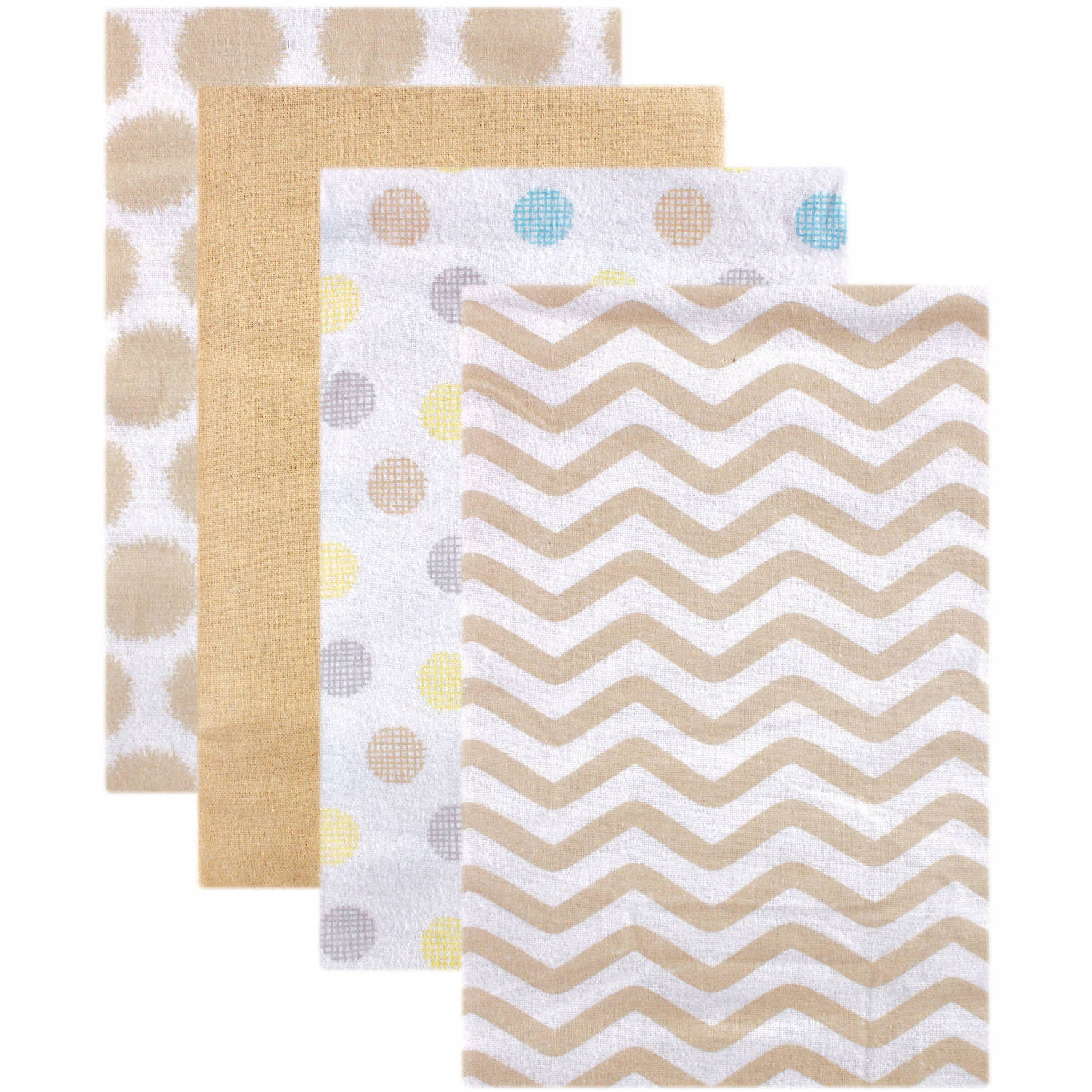 Luvable Friends Receiving Blankets Flannel, 4pk, Tan Dots