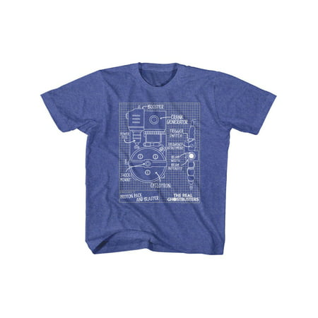 The Real Ghostbusters Blueprints Vintage Royal Toddler T-Shirt Tee - Ghostbusters Review For Kids