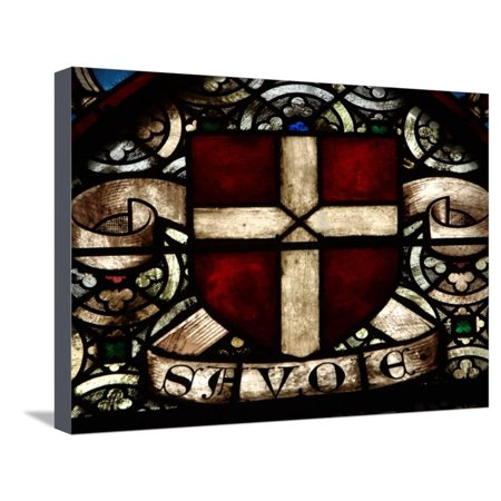 Close-up of an Illuminated Cross in a Stained Glass Window Stretched Canvas Print Wall Art (Stained Glass Illuminated Wall Decor)