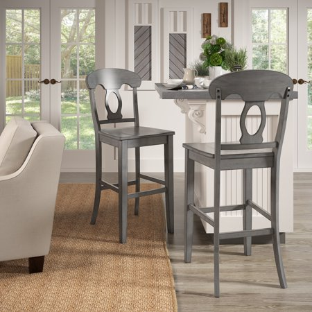 Weston Home Farmhouse Vintage Napoleon Back Solid Wood Bar Height Chair, Set of 2, Multiple Finishes