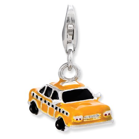 - Solid 925 Sterling Silver Enameled Taxi Cab with Lobster Clasp Pendant Charm (14mm x 29mm)