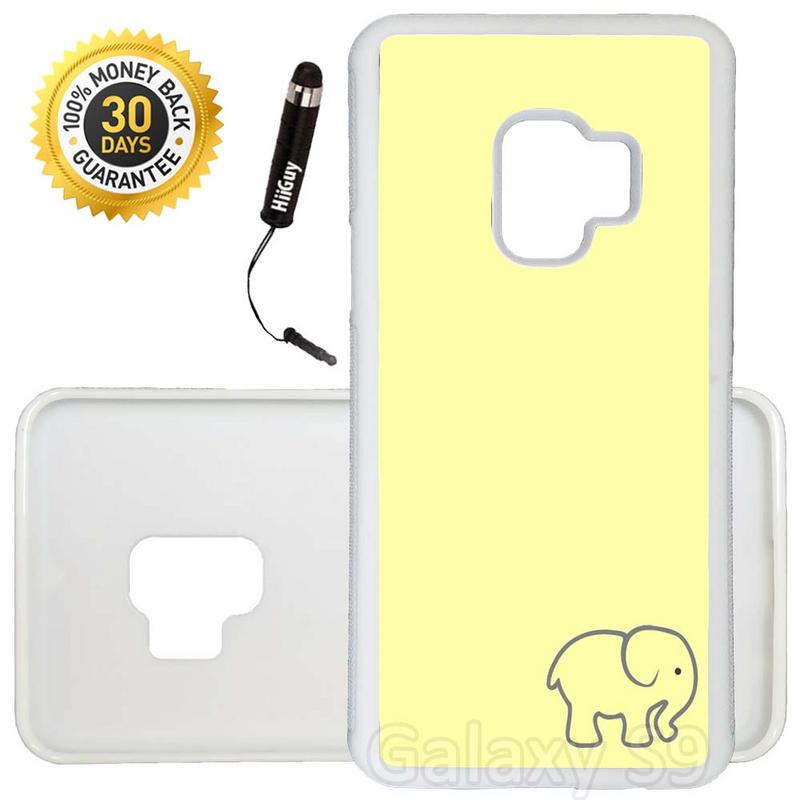 Custom Galaxy S9 Case (Kawaii Cute Elephant Yellow) Edge-to-Edge Rubber White Cover Ultra Slim | Lightweight | Includes Stylus Pen by Innosub
