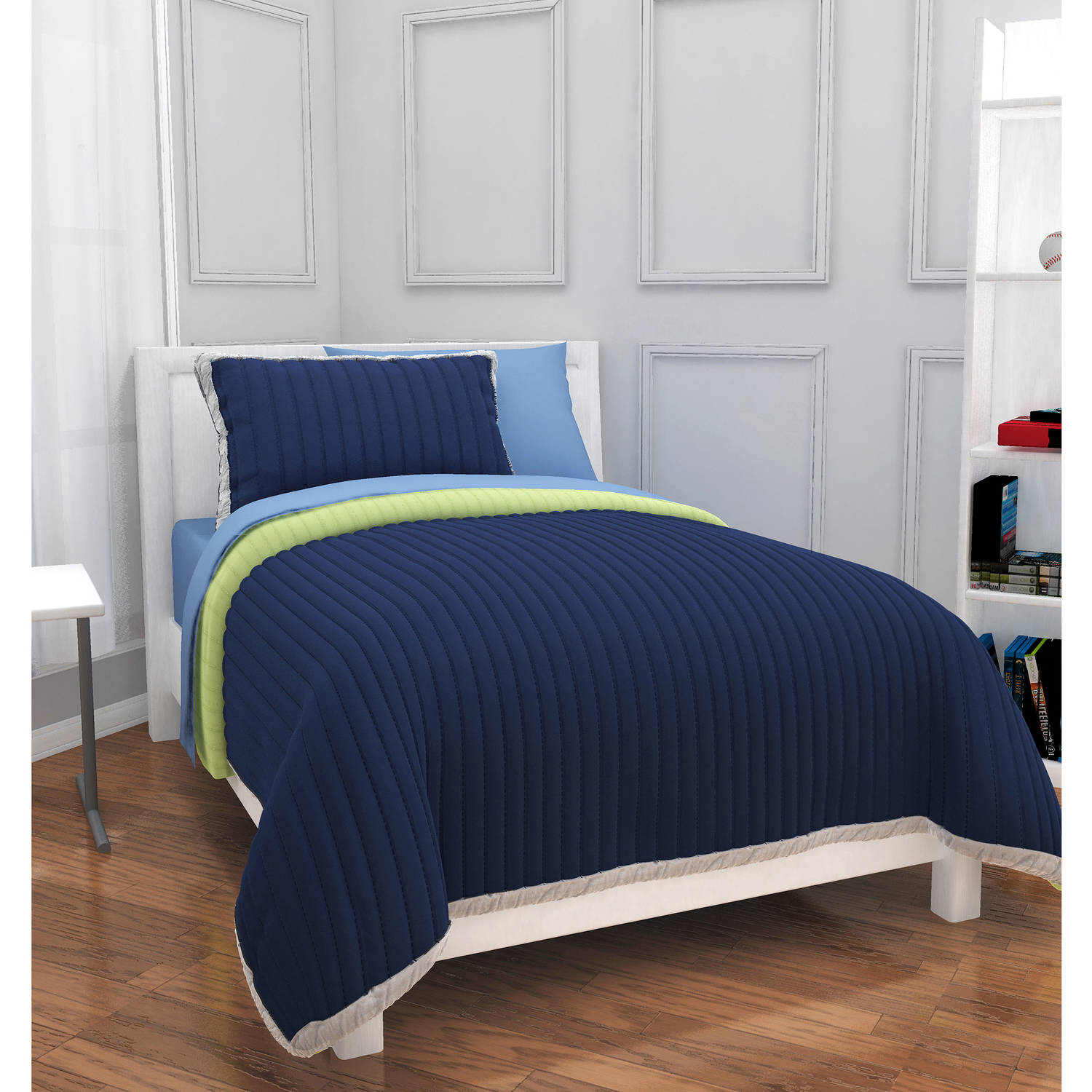 Mainstays Kids Quilted Solid Bed in a Bag Set