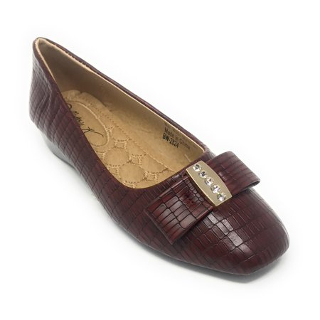 Victoria K Women's Bow With Gold Rhinestone Alligator Textured Wedge Shoes ()