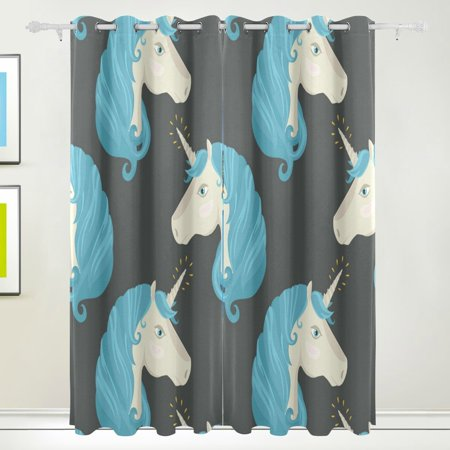 POPCreation Pony Unicorn Window Curtain Blackout Curtains Darkening Thermal Blind Curtain for Bedroom Living Room,2 Panel (52Wx84L Inches)