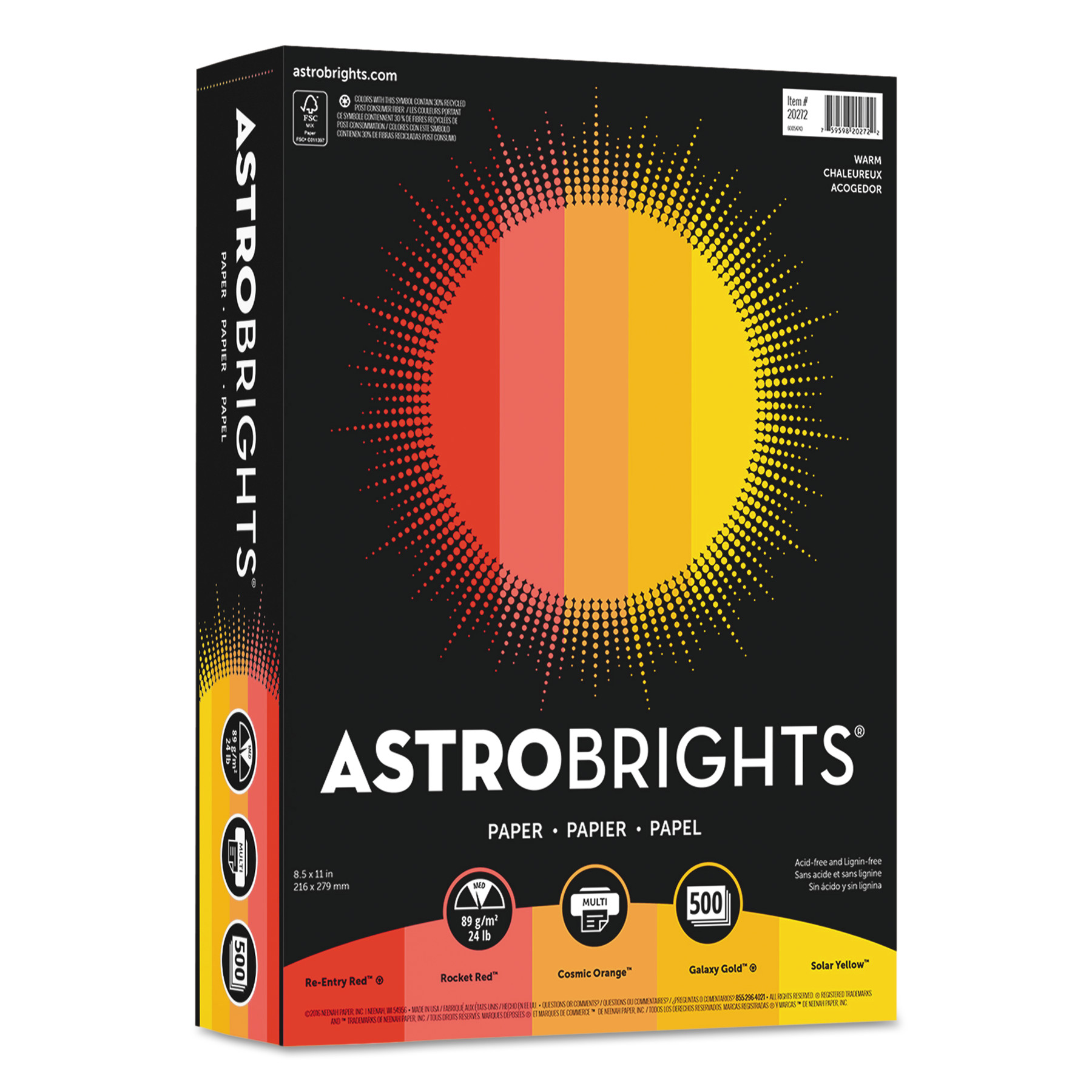 "Astrobrights Color Paper - ""Warm"" Assortment, 24lb, 8 1/2 x 11, 5 Colors, 500 Sheets -WAU20272"