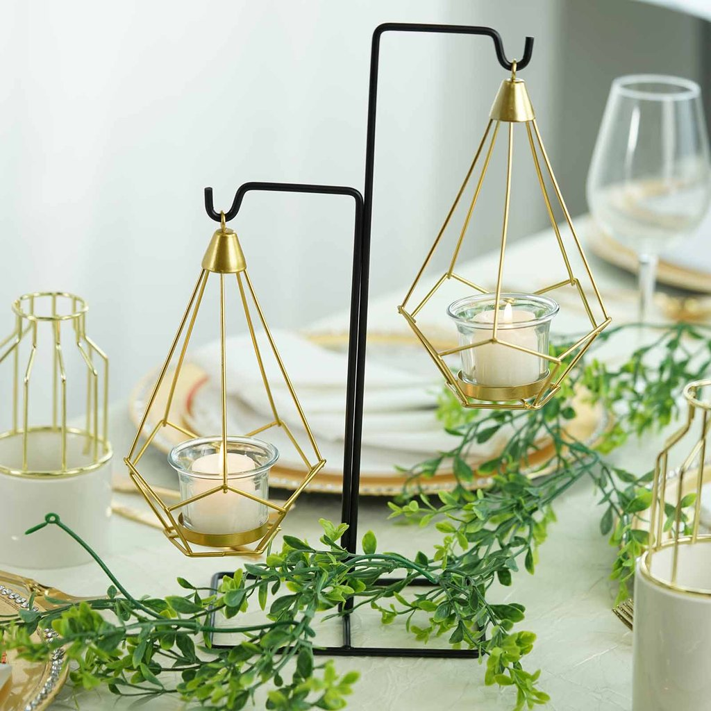 Balsacircle 2 Pcs 8 Inch Tall Gold Geometric Tealight Votive Candle Holders With Black Iron Stand Wedding Party Home Decorations Walmart Com Walmart Com