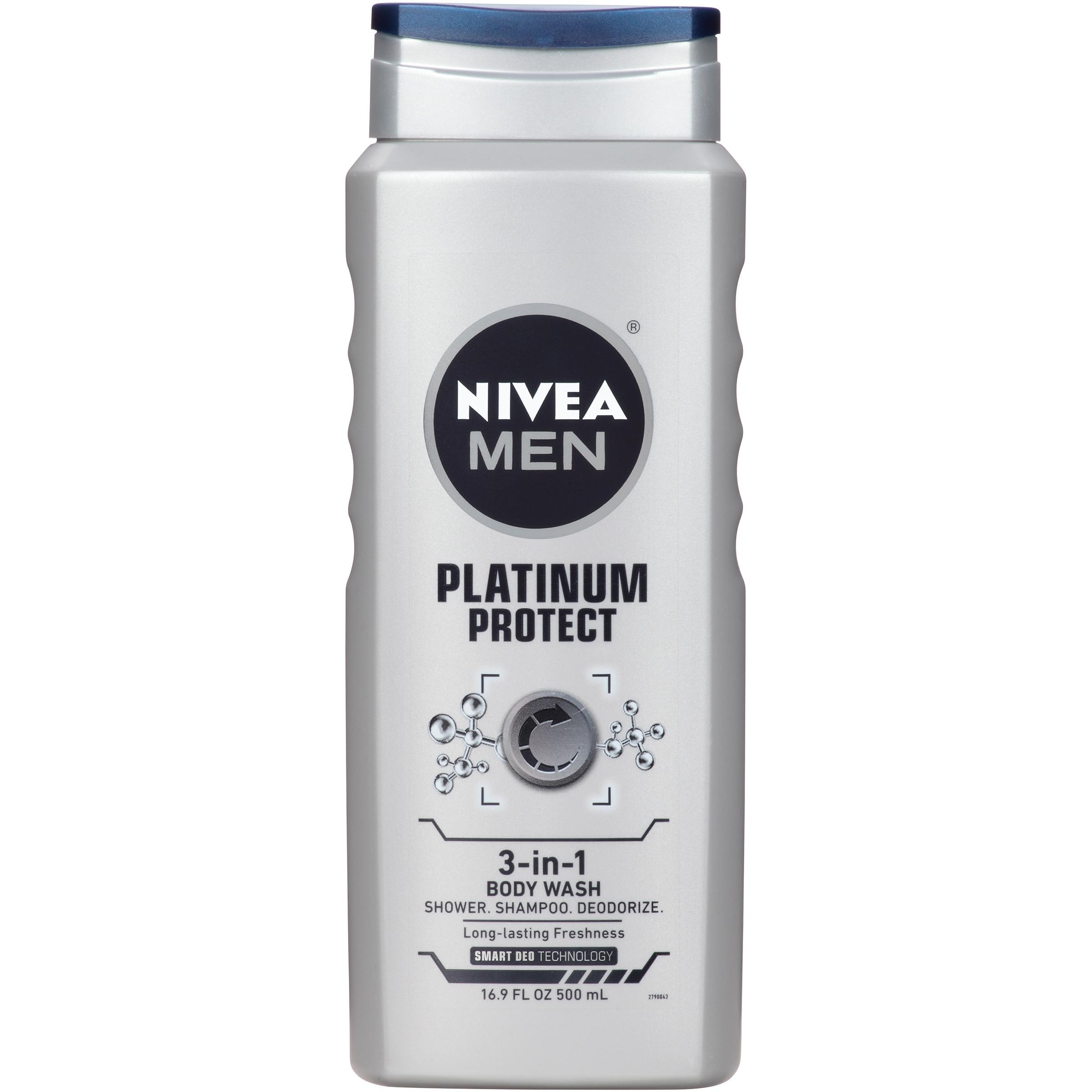 Nivea Men Platinum Protect 3-in-1 Deodorizing Body Wash,16.9 oz - Walmart.com