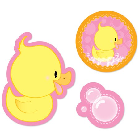 Pink Ducky Duck - DIY Shaped Girl Baby Shower or Birthday Party Cut-Outs - 24 Count](Party Birthday Girl)