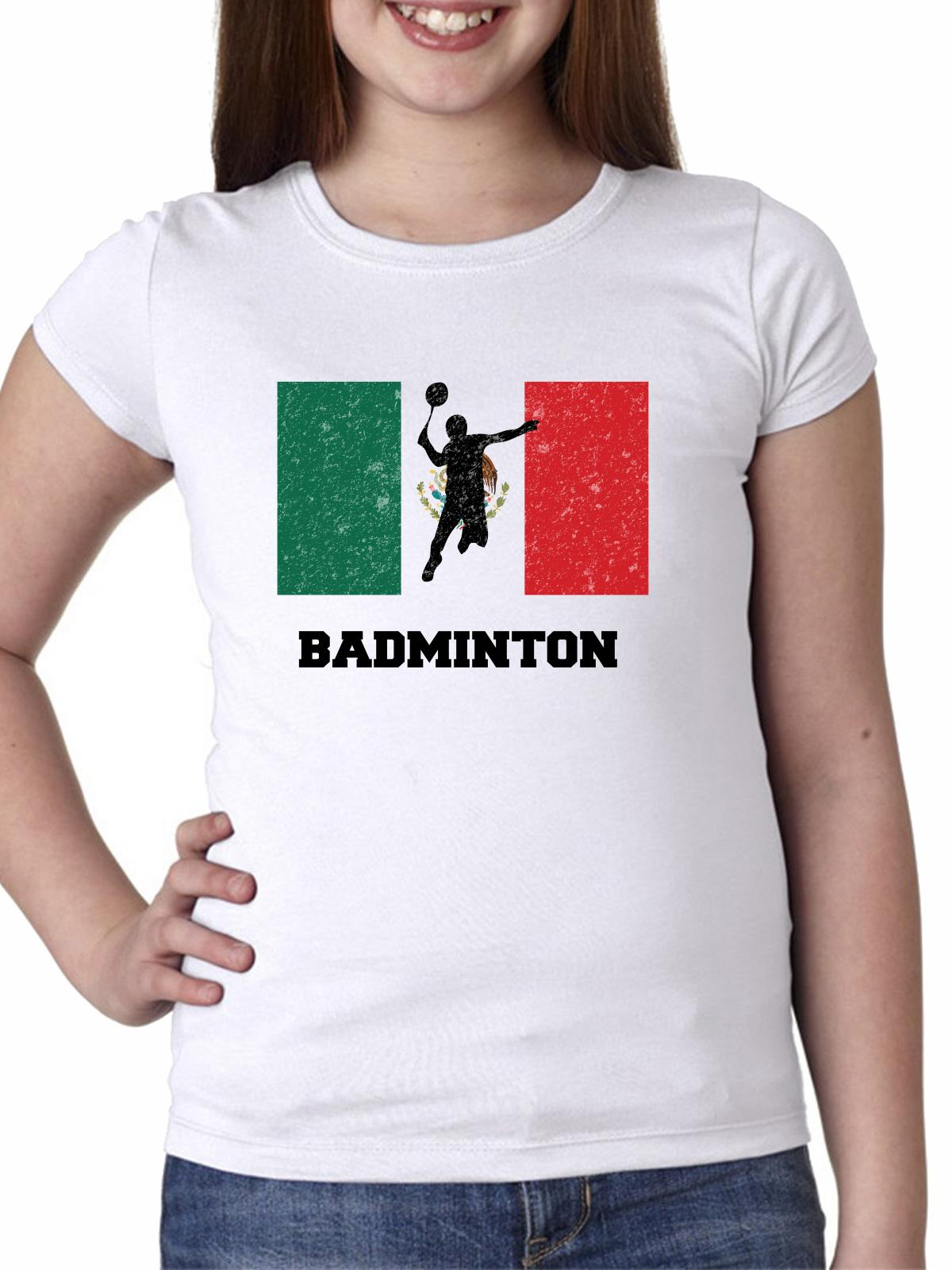 Mexico Olympic - Badminton - Flag - Silhouette Girl's Cotton Youth T-Shirt