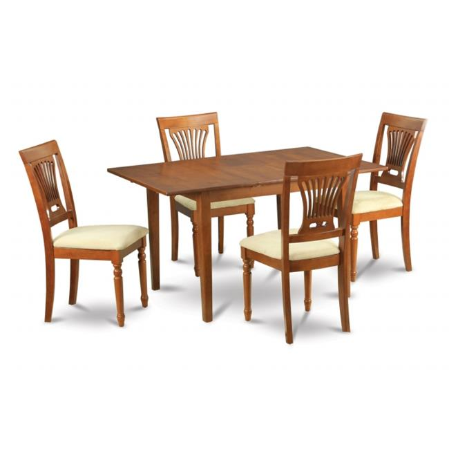 Wooden Imports Furniture PSPL7-SBR-C 7PC Picasso Rectangular Table and 6 Plainville upholstered Seat Chairs - Saddle Brown Finish