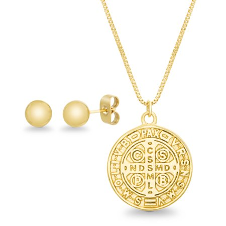 Cross Pendant Earring Set (Bliss Women's Polished Round Ball Stud Earring and San Benito Cross Pendant Set in Yellow Gold IP Plated Stainless Steel)