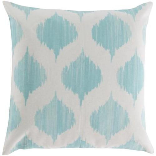 "18"" Ice Blue and Ivory Diamond Puffs Decorative Throw Pillow - Down Filler"