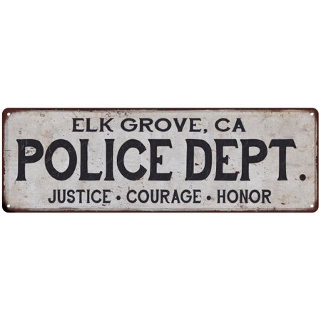 ELK GROVE, CA POLICE DEPT. Home Decor Metal Sign Gift 8x24 108240012139 - Party City Elk Grove