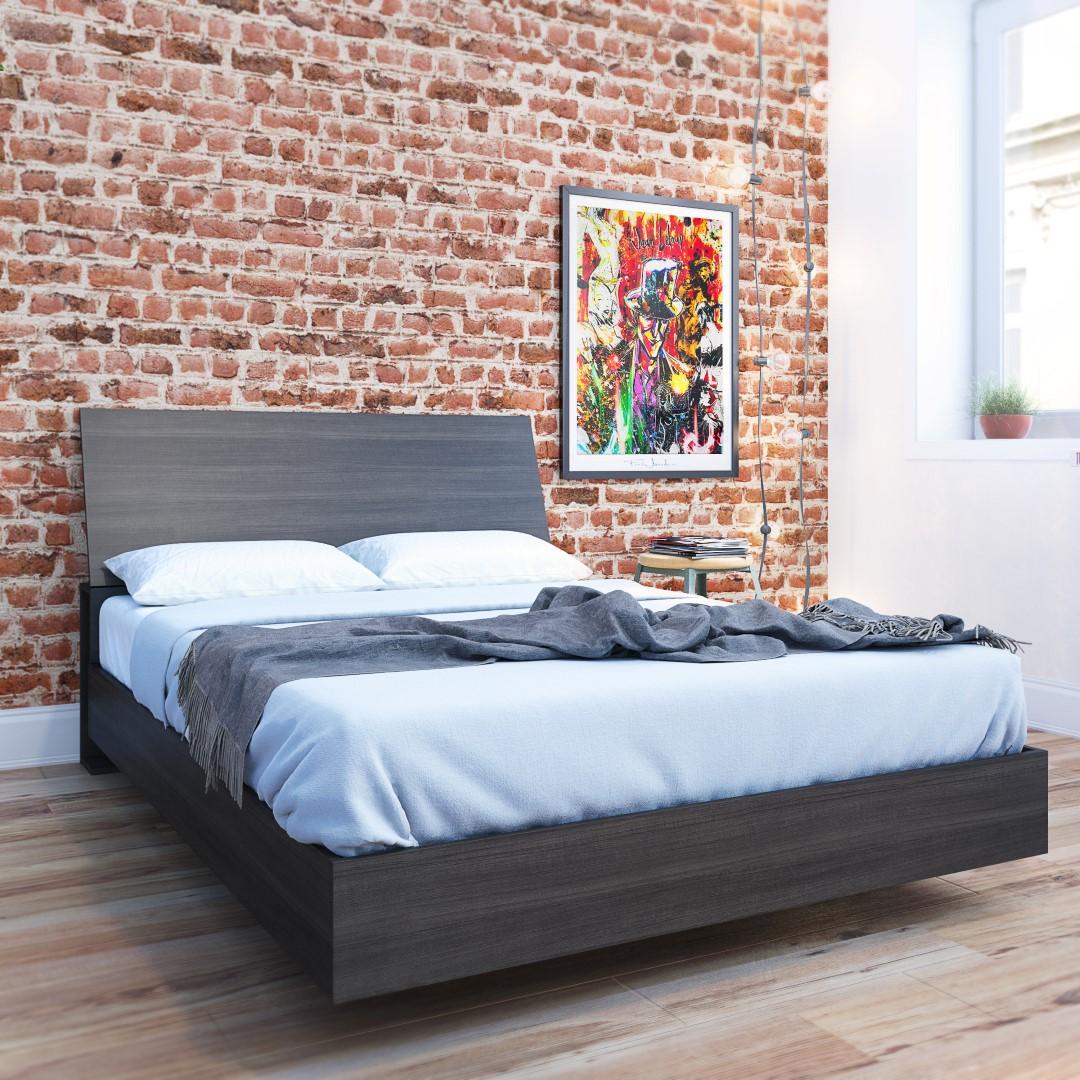 Nexera Tribeca Platform Bed with Headboard, Ebony