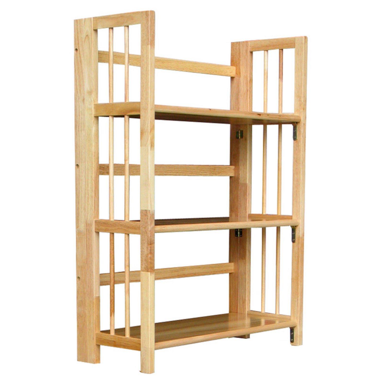 "3-Shelf Folding Stackable Bookcase 27.5"" Wide-Natural"