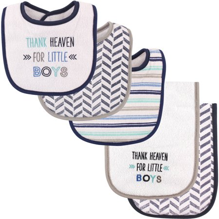 - Luvable Friends Baby Boy and Girl Bib and Burp Cloth Set, 5-Piece Set - Boy Thank Heaven