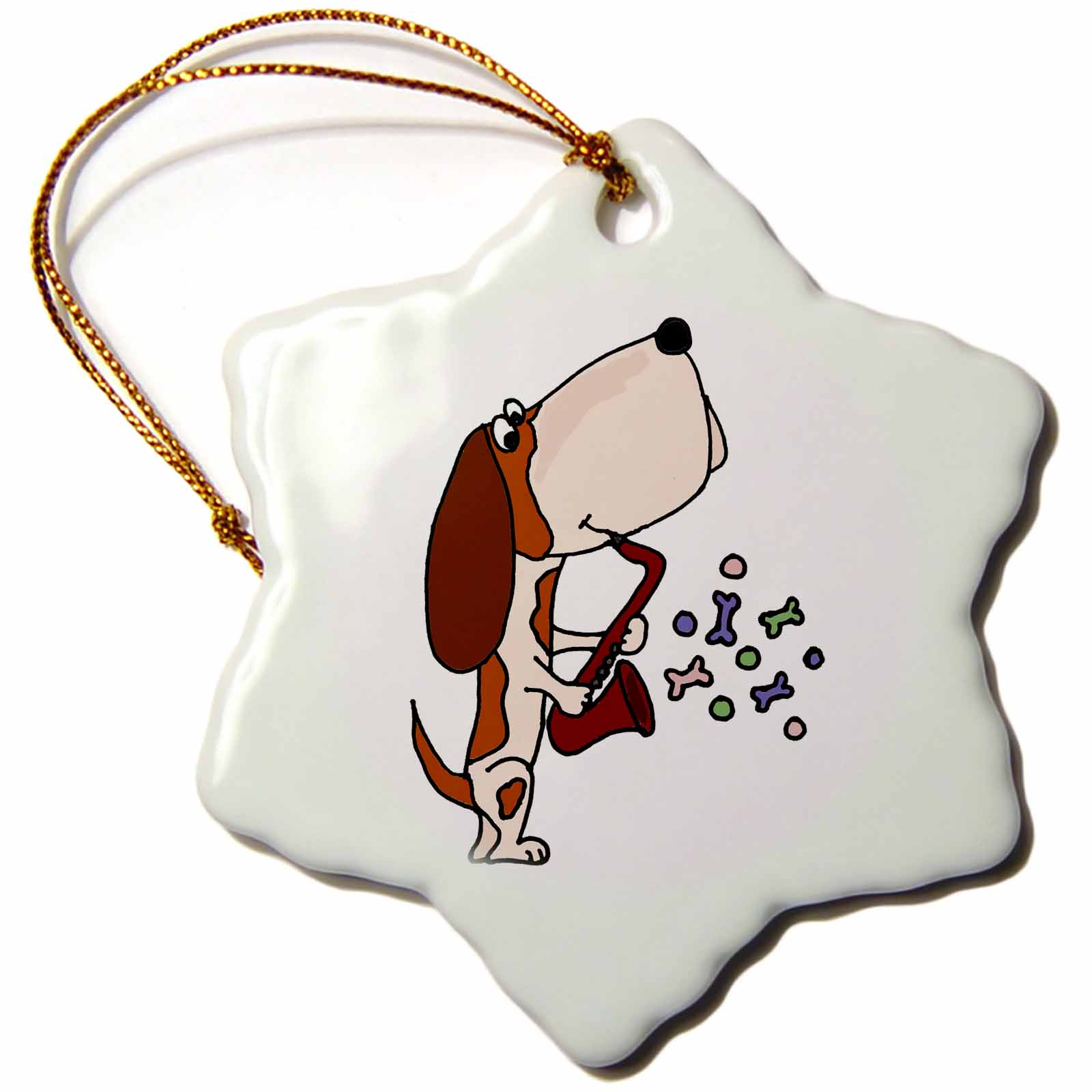 3dRose Funny Basset Hound Dog Playing Saxophone, Snowflake Ornament, Porcelain, 3-inch