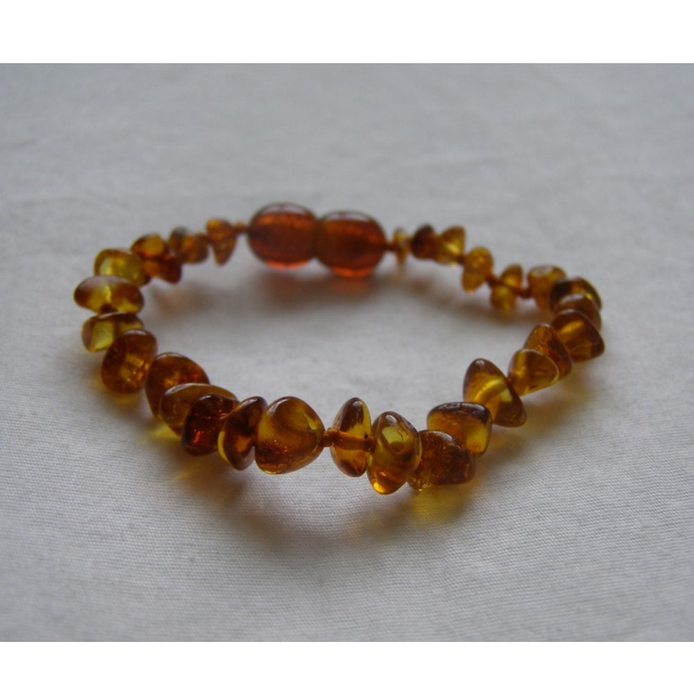 Baltic Amber Baby Teething Bracelet - Dark Cognac