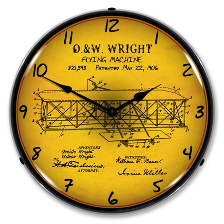 1906 Wright Flyer Patent LED Wall Clock, Retro/Vintage, Lighted, 14