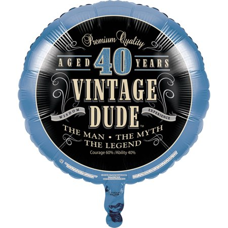 Vintage Dude 40th Birthday Mylar Balloon, each