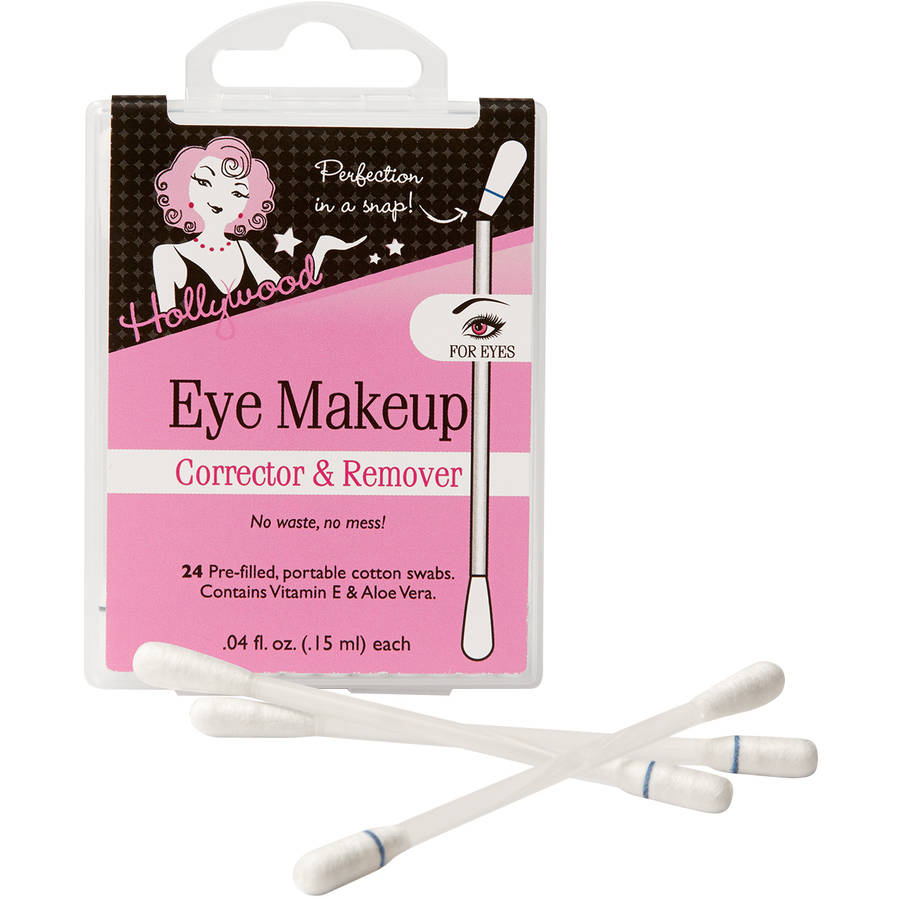 Hollywood Eye Makeup Corrector & Remover Cotton Swabs, 0.4 fl oz, 24 count
