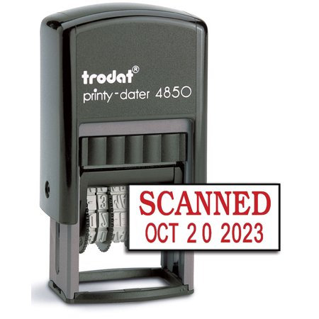 Trodat 4850 Date Stamp with SCANNED, Self Inking Stamp - Red Ink (Trodat Rubber Stamp)