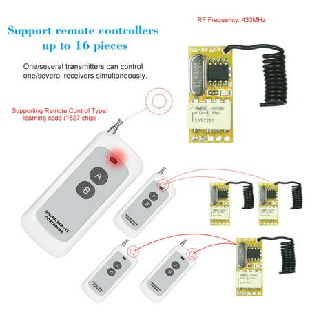 Universal Low Voltage Module (433Mhz DC 3.7V 4.5V 5V 6V 7.4V 9V 12V Universal Receiver Module RF Remote Control Switch Relay 1CH Mini Wireless Control Switch 3.7V-12V Wide Working Voltage + 1PCS 2 Key 433 Mhz Transmitter Remote Co )
