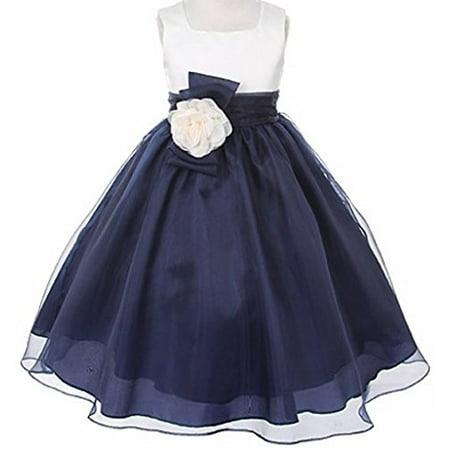 015633f1833 BNY Corner - BNY Corner Flower Girl Dress Two-Tone Ivory Top Mix Organza  for Little Girl Navy 4 KK2058 - Walmart.com