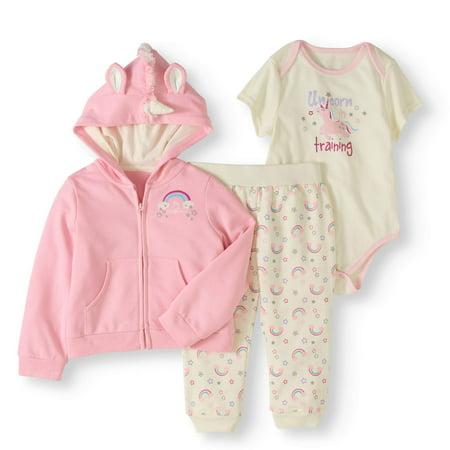 Newborn Baby Girls' Critter Hoodie 3-Piece Outfit Set